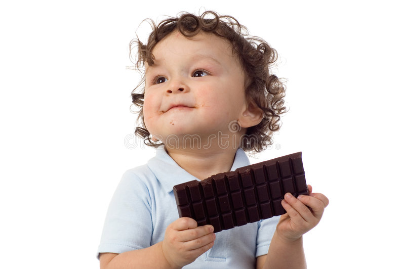 Download Child with chocolate. stock image. Image of eating, background - 4044519