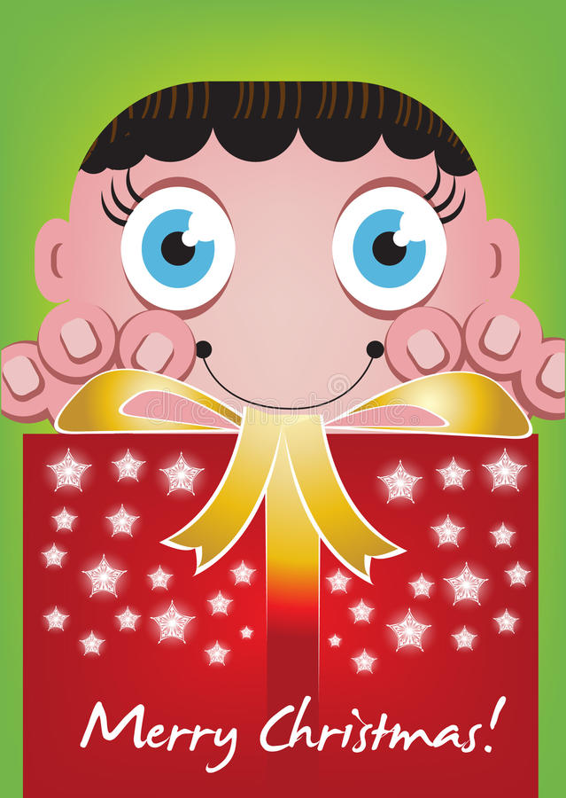Child with christmas gift box royalty free illustration
