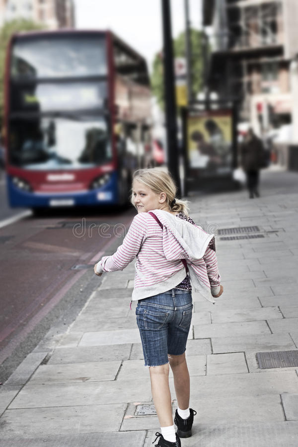 Child on city street royalty free stock images