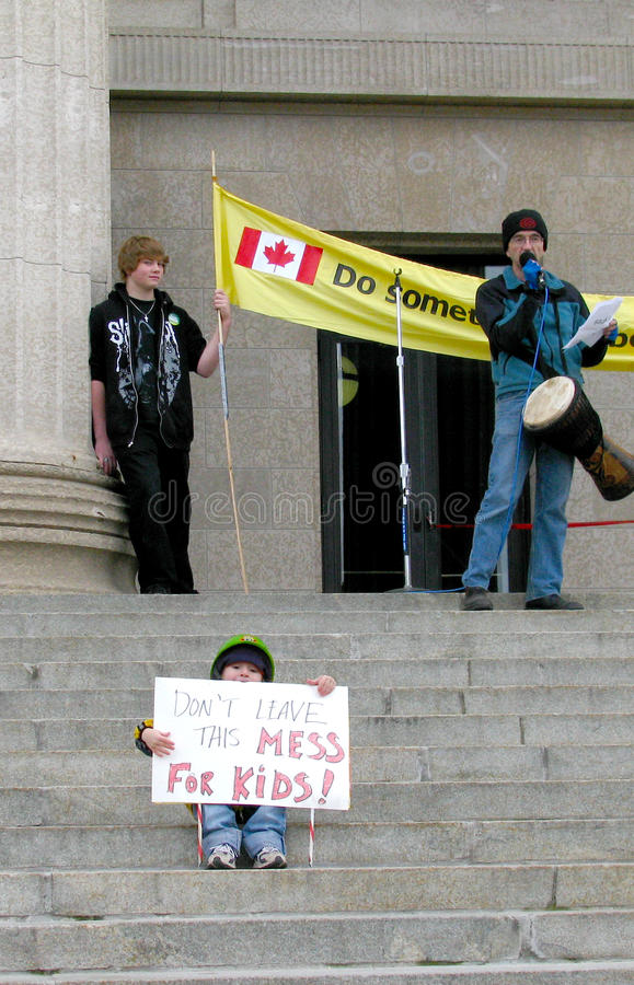 Child at Climate Change Protest, Canada royalty free stock photo