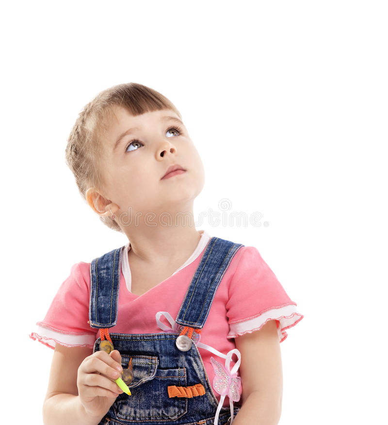 Child with color felt marker in dream royalty free stock images