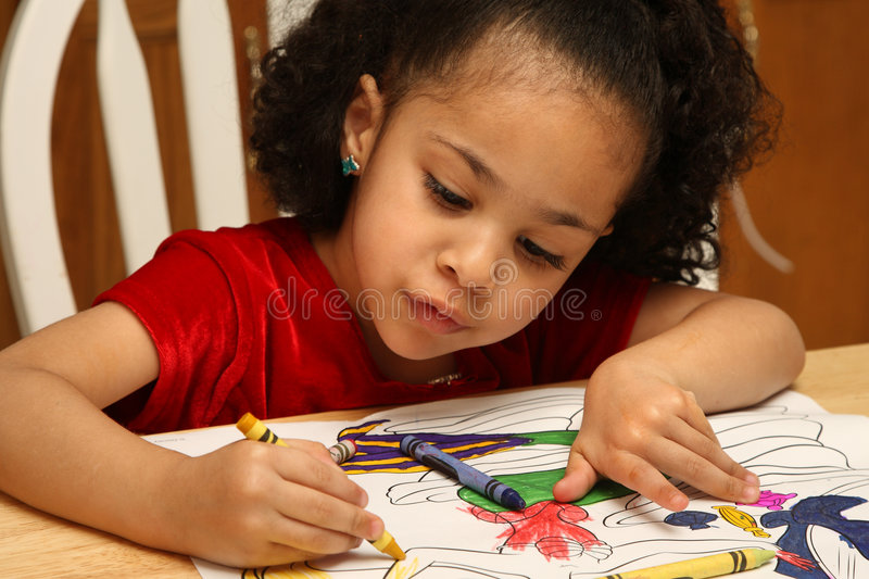 Child coloring stock image. Image of cute, image, girl - 4591205