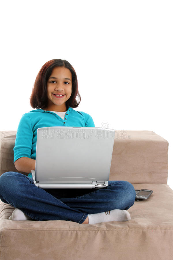 Child On Computer royalty free stock image