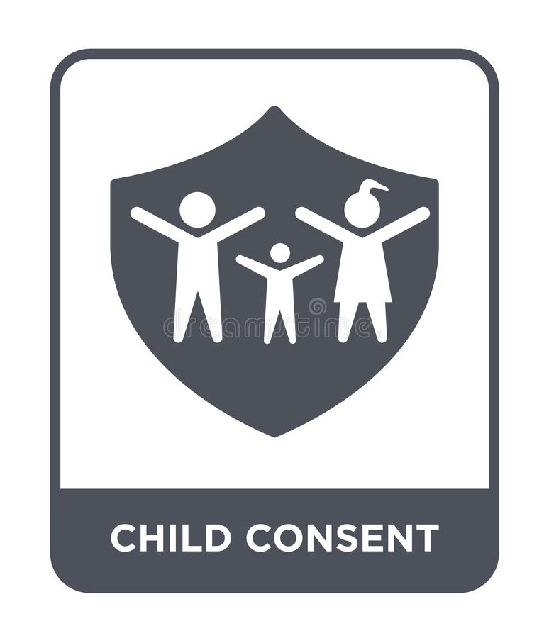 Child consent icon in trendy design style. child consent icon isolated on white background. child consent vector icon simple and. Modern flat symbol for web royalty free illustration