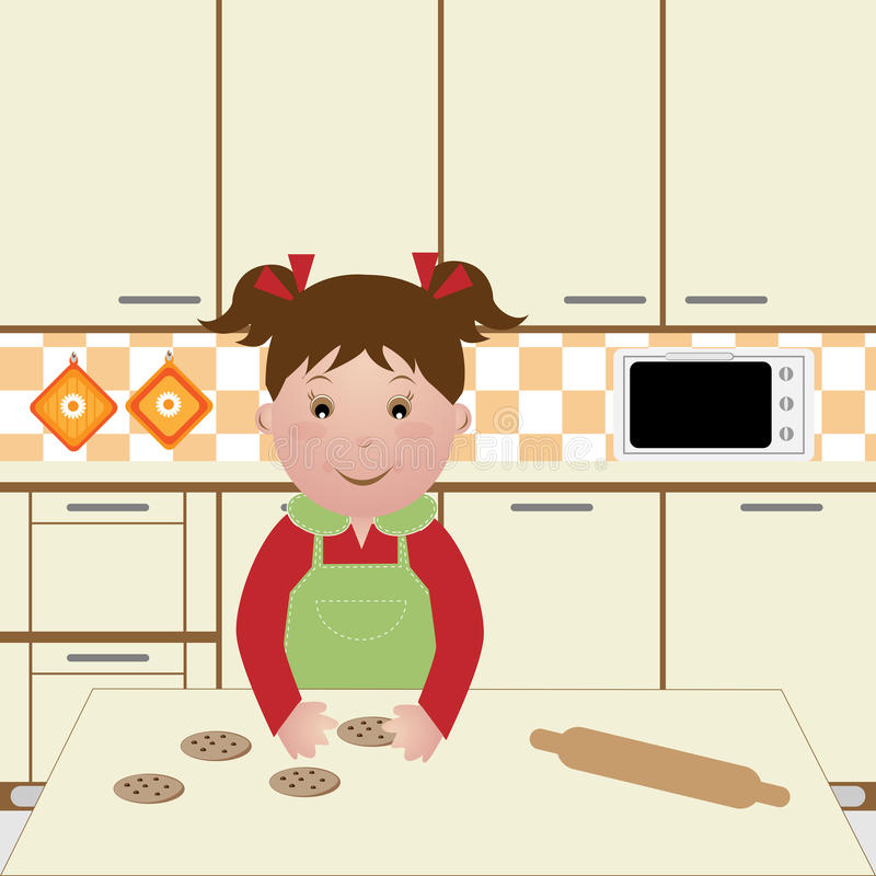 Child cooking royalty free illustration