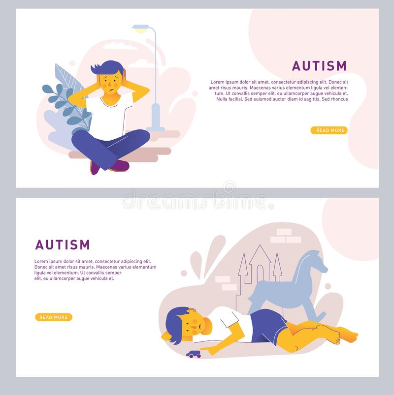 The child covers his ears with his hands and sits alone. Autism center, treatment of autism spectrum disorder, kids. Autism concept. Bright vector isolated vector illustration