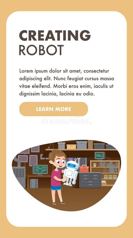 Child Creating Robot. Education Technology Skills royalty free illustration