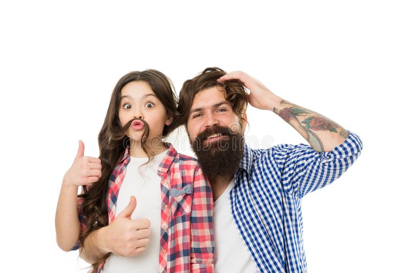 Child and dad best friends. Friendly relations. Parenthood and childhood. Fathers day concept. Lovely father and cute. Kid. Happy to be father. Going crazy stock image