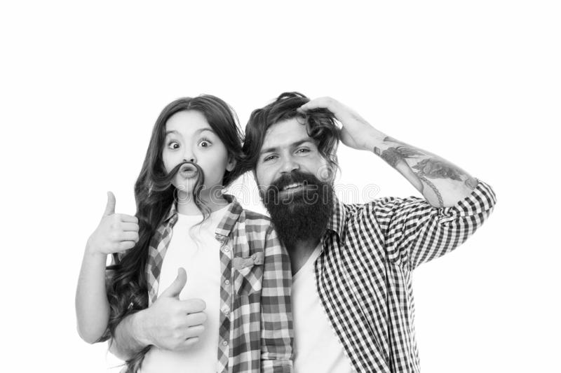 Child and dad best friends. Friendly relations. Parenthood and childhood. Fathers day concept. Lovely father and cute. Kid. Happy to be father. Going crazy royalty free stock photography