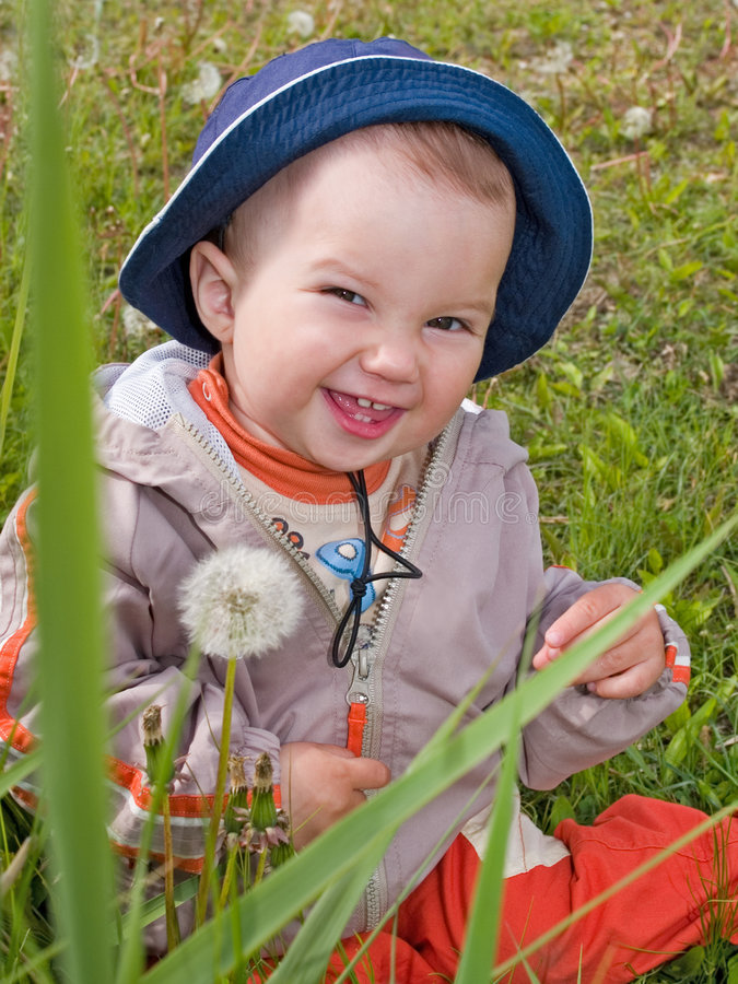 Child on the dandelion flowers meadow stock images