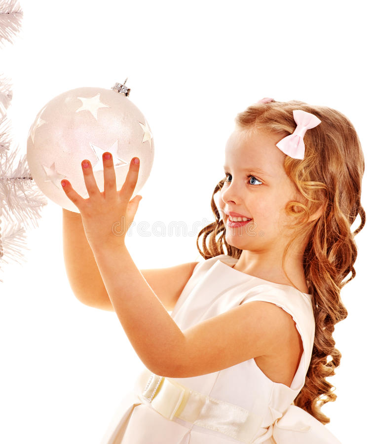Child Decorate White Christmas Tree. Stock Photos