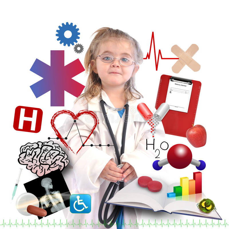 Download Child Doctor With Academic Career On White Stock Photo - Image: 28553438