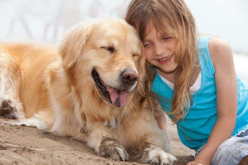 Child with dog royalty free stock image