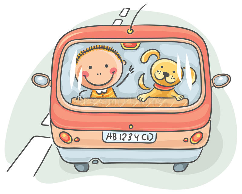 Child and dog in the car stock illustration