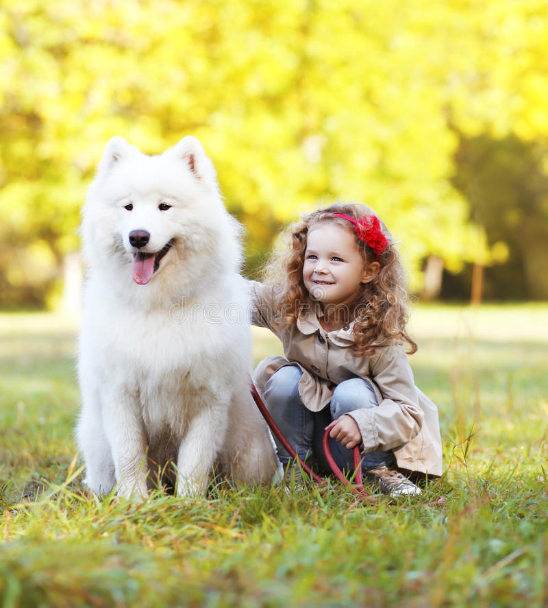 Child and dog having fun outdoors stock photo
