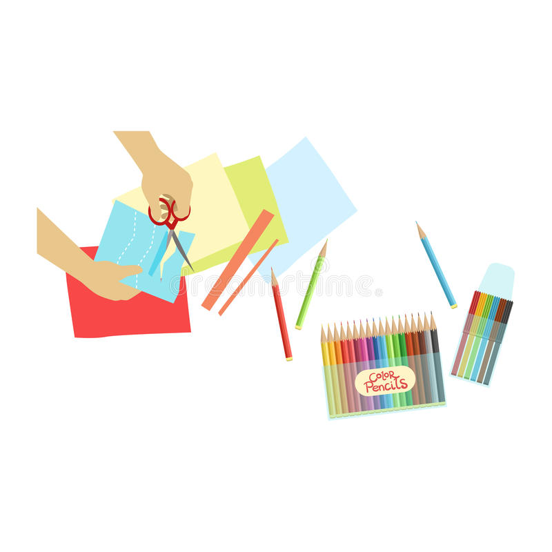 Child Doing Applique Illustration With Only Hands Visible From Above. Kids Art And Craft Lesson Colorful Cartoon Cute Vector Picture stock illustration