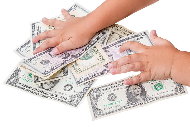 Child And Dollars Royalty Free Stock Images
