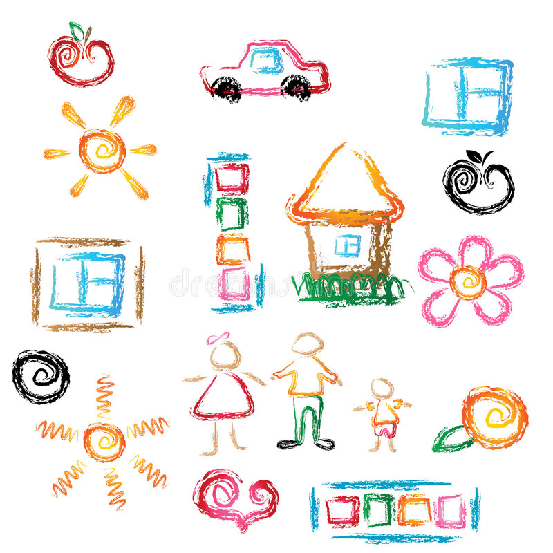 Child draw. Abstract illustration. Different elements for your design.EPS and JPEG