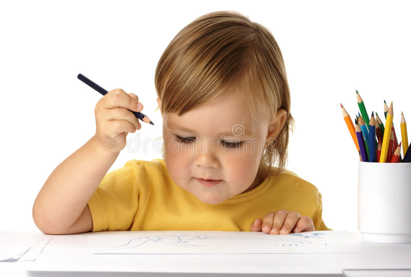Download Child draw with crayons stock photo. Image of beautiful - 10670304