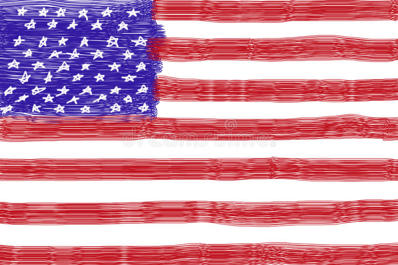 Child drawing american flag royalty free stock photo