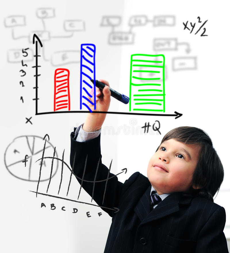 Child drawing a diagram on digital royalty free stock photos