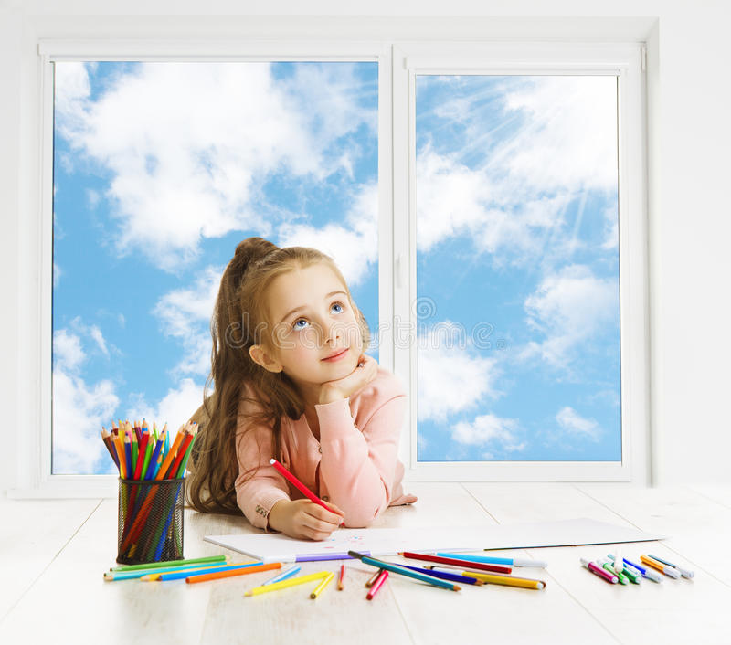 Child Drawing Dreaming Window, Creative Girl Thinking Inspiration royalty free stock images