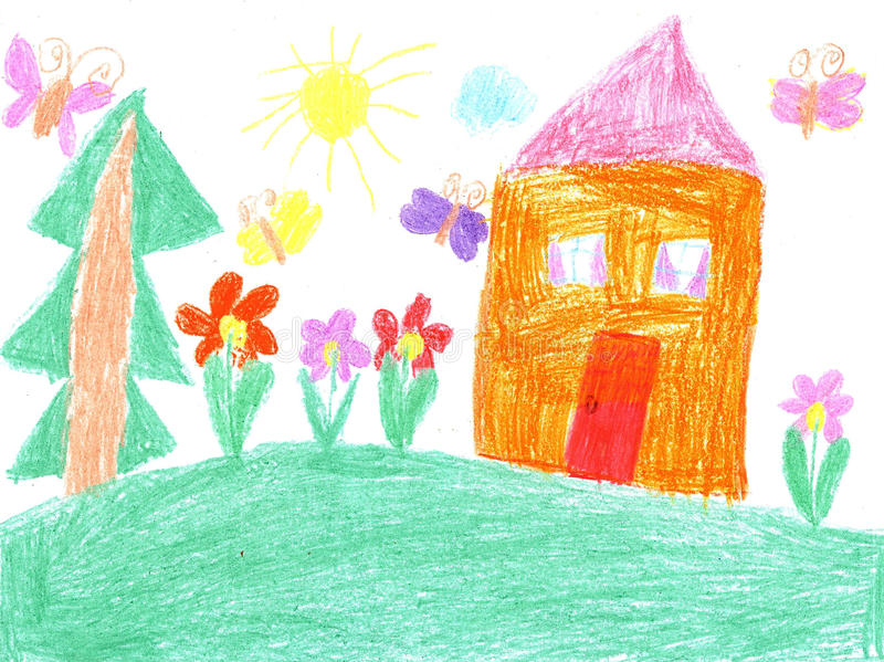 Child drawing of a house stock illustration