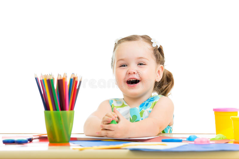 Child drawing and making by hands royalty free stock photography