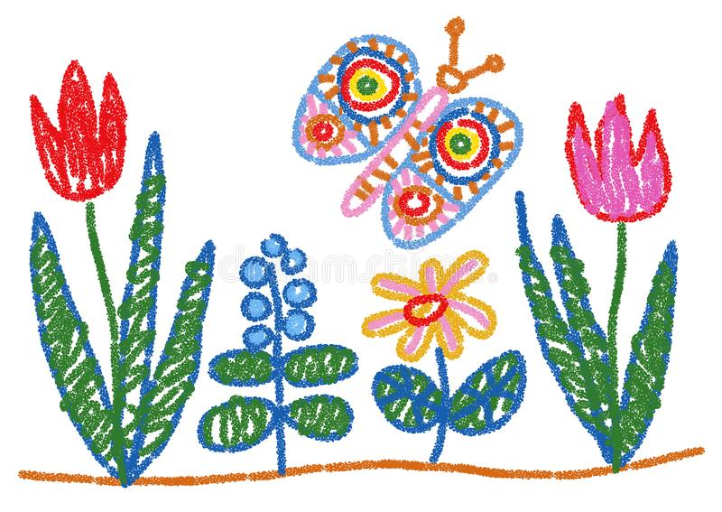 Child Drawing Styled Flowers and Butterfly vector illustration