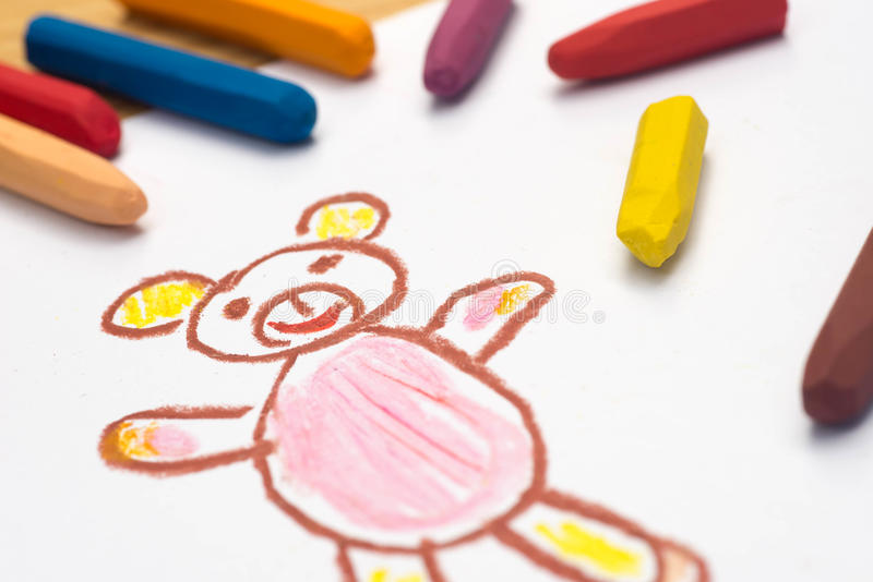 Child drawing, teddy bear , selective focus royalty free stock image