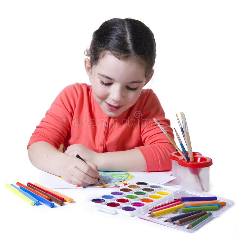 Free Child Drawing With Pensil Using A Lot Of Painting Tools Royalty Free Stock Images - 30701079