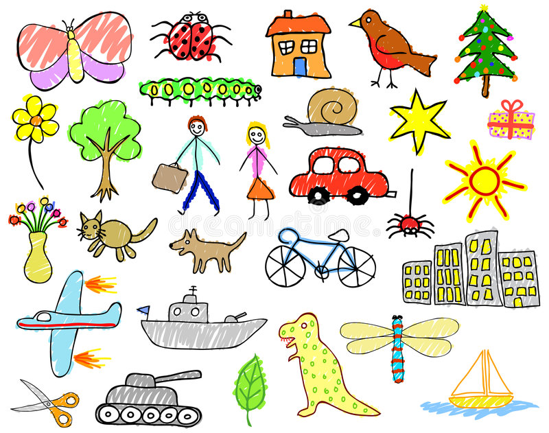 Child drawings stock illustration