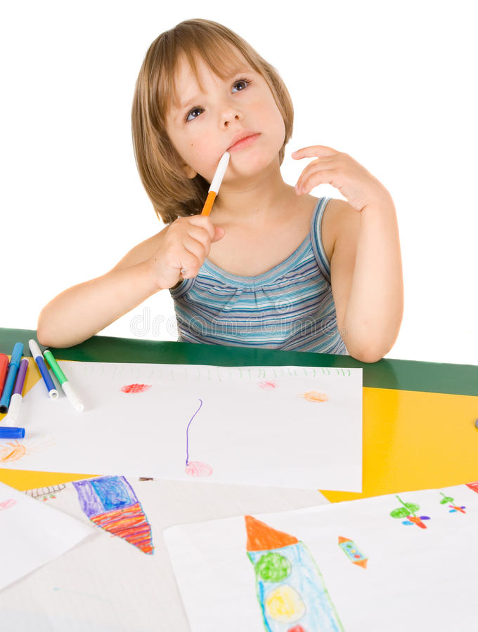 Download Child Draws Royalty Free Stock Photography - Image: 10639517