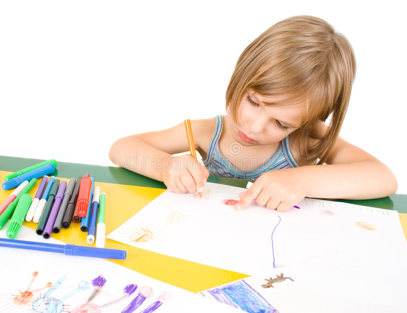 Download Child draws stock image. Image of happy, funny, drawing - 10773267