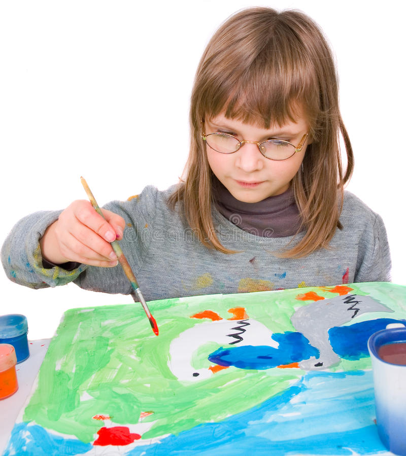 Download Child draws stock image. Image of paint, innocence, education - 22149639