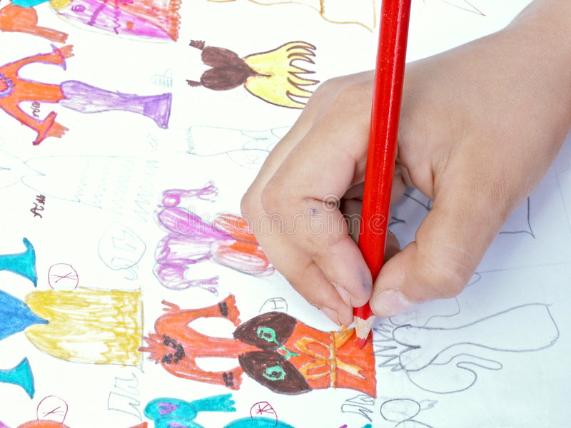 The child draws royalty free stock photography