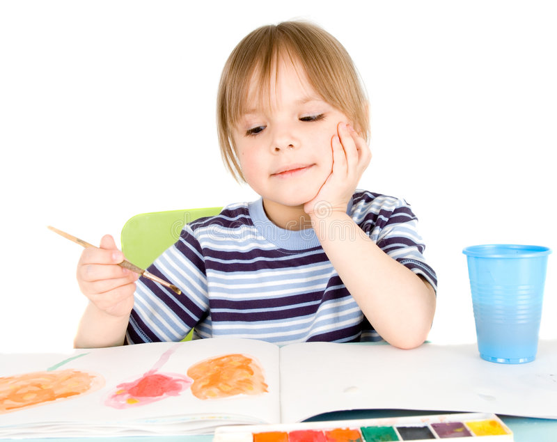 Download Child draws stock photo. Image of caucasian, concentration - 9027050