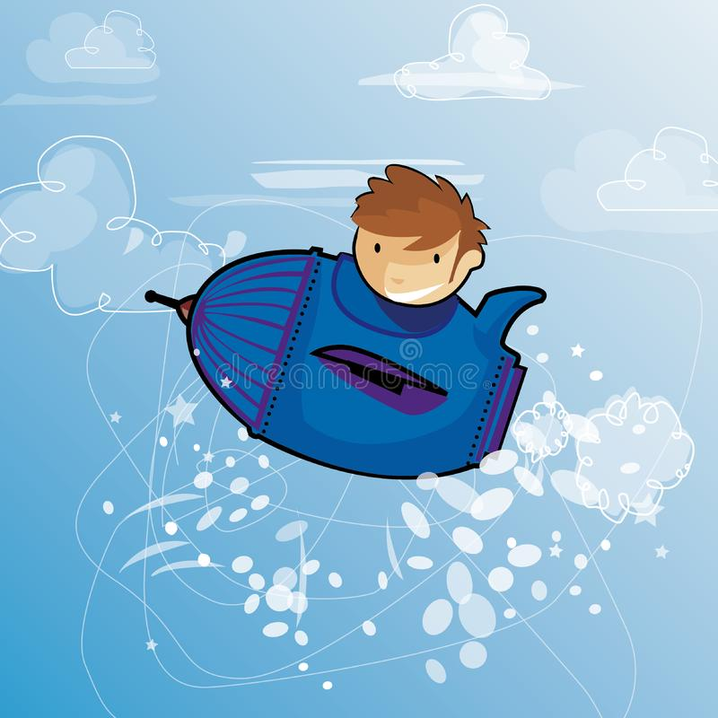 A child Dreams of travel in the sky vector illustration