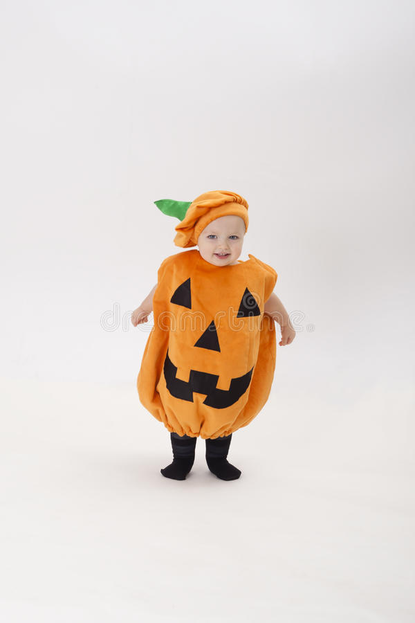 Download Child Dressed As A Pumpkin On Halloween Stock Photo - Image: 28787446