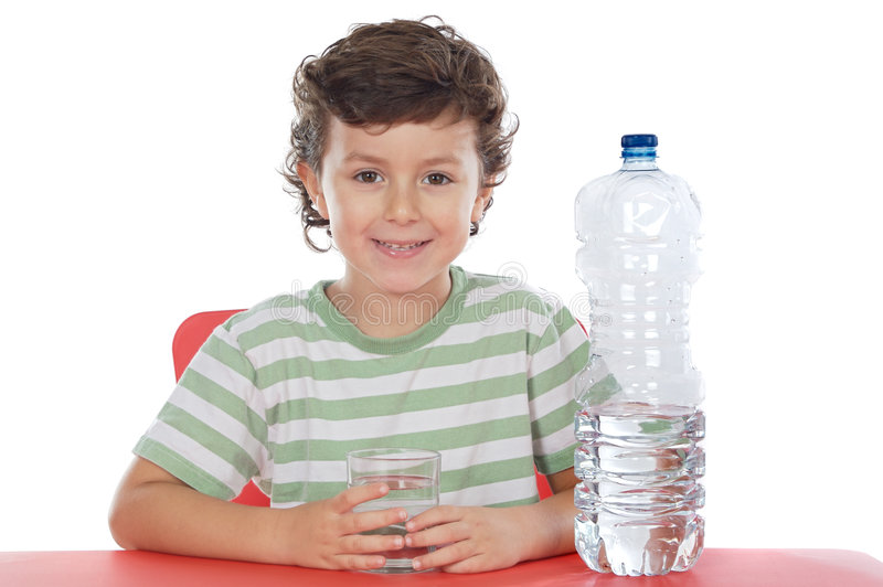 Child drinking water. A over white background royalty free stock photography