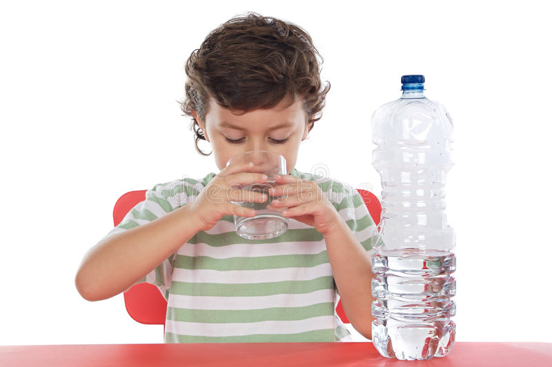 Child drinking water. A over white background royalty free stock photo