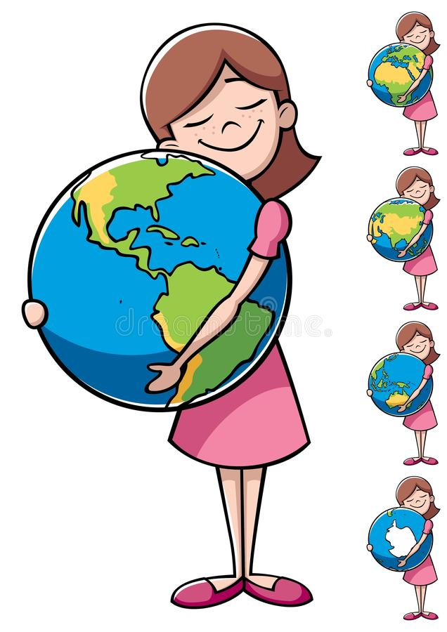 Child and Earth. Little girl hugging the Earth over white background. On the right are 4 more versions, differing by the shown part of the Earth royalty free illustration