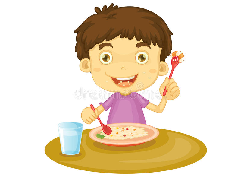 Child eating vector illustration