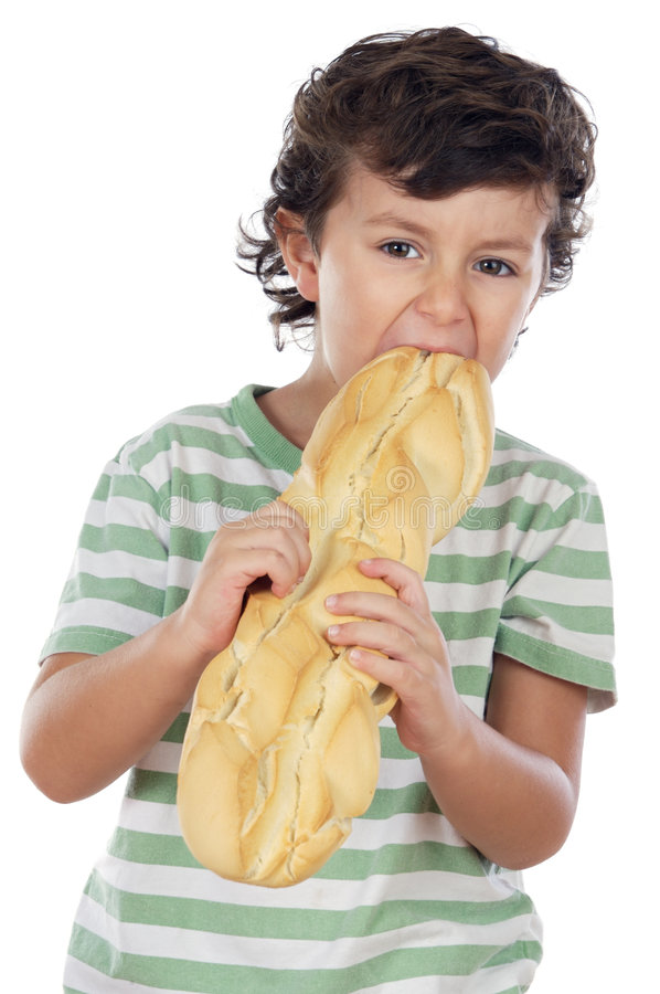 Download Child Eating Bread Stock Image - Image: 4136051