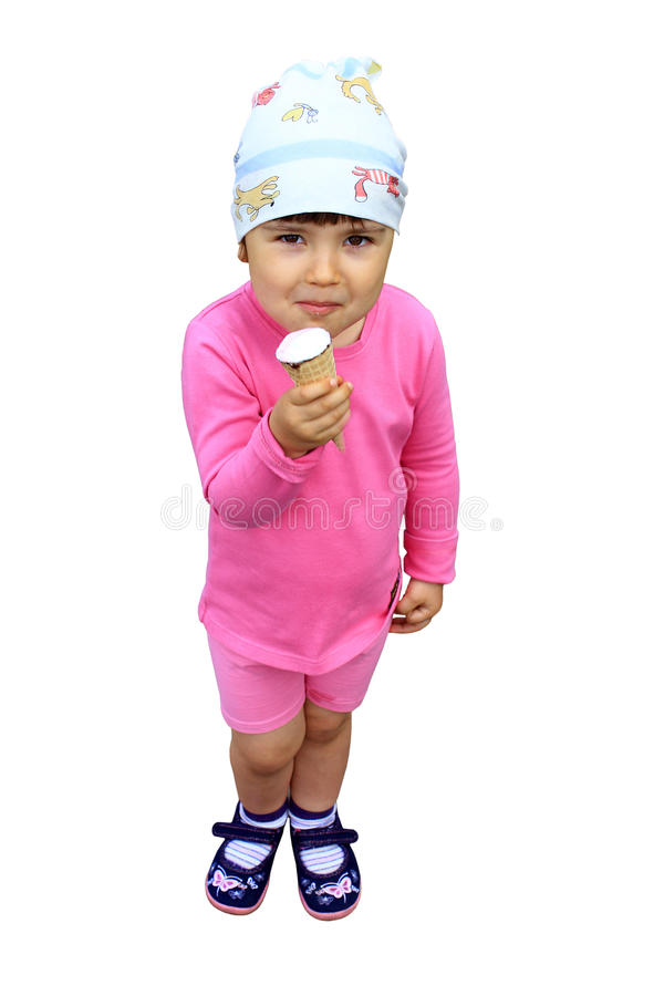 Child eating ice-cream royalty free stock photos