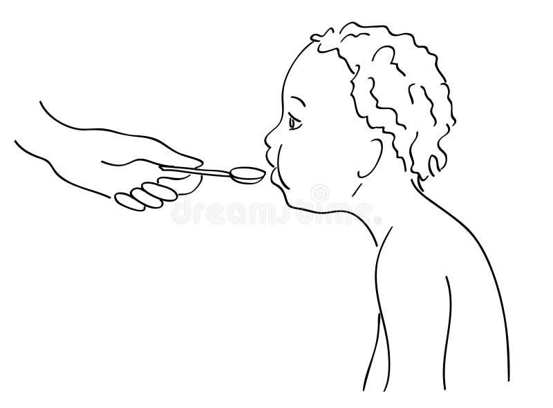 Child eats vector illustration