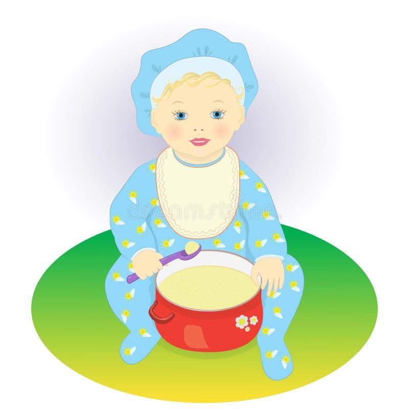 The child eats porridge royalty free illustration
