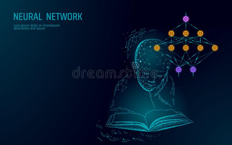 Child education online concept. Artificial neural network technology science medicine cloud computing. AI 3D abstract royalty free illustration