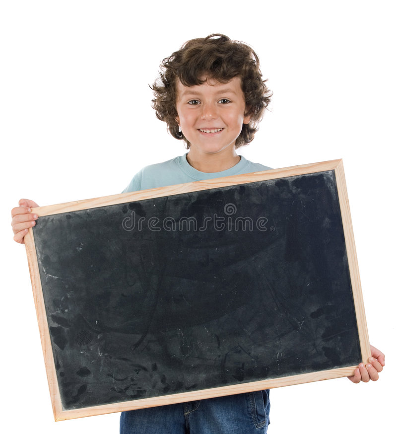 Download Child With Empty Slate To Put Words Stock Image - Image: 6863429