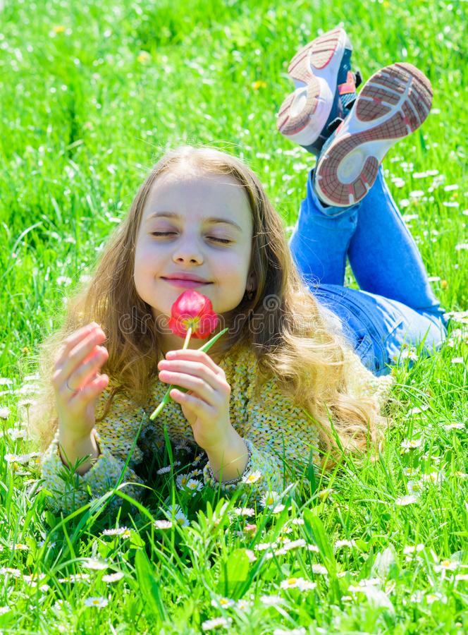 Child enjoy fragrance of tulip while lying at meadow. Girl on peaceful face holds red tulip flower on sunny spring day stock photo